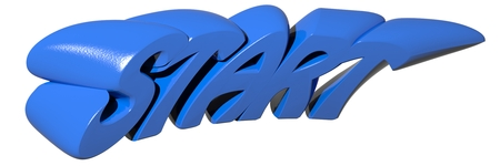 START written with funny 3D blue letters on white background