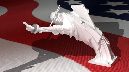 bend over: Liberty statue bend down, over american flag Stock Photo