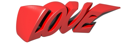 LOVE written with red 3D letters on white background