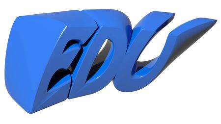 edu: EDU for educational or Education, written with blue 3D letters on white background