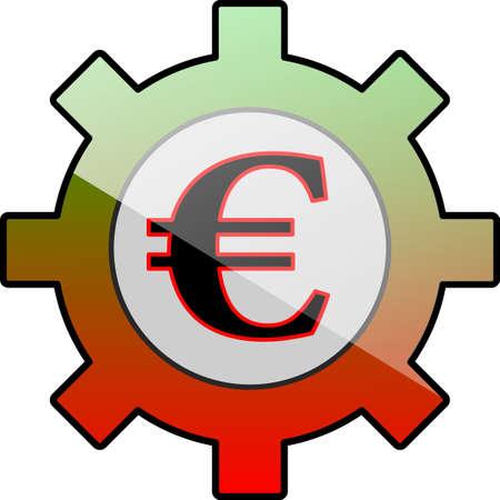 Gear icon with euro symbol Illustration