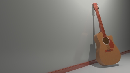 A guitar is standing near a white wall, waiting to be used to play music