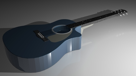 A blue guitar is laying on a white glossy surface