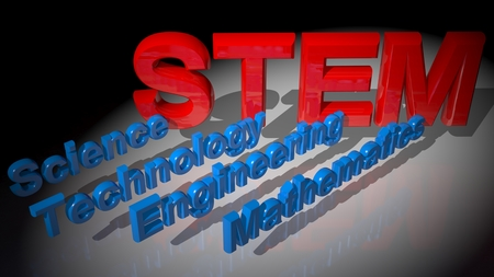 STEM is the achronym for Science, Technology, Engineering, Mathematics. Here you have the achronym written in big red letters with blue words going to each letter, to explain Their meaning.