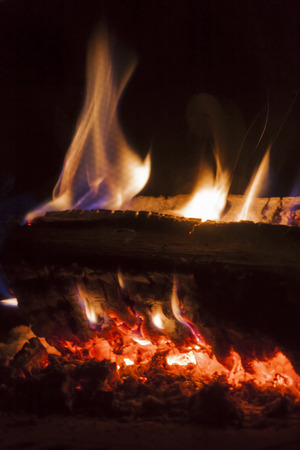 oxydation: Flames from carbonized wood Stock Photo