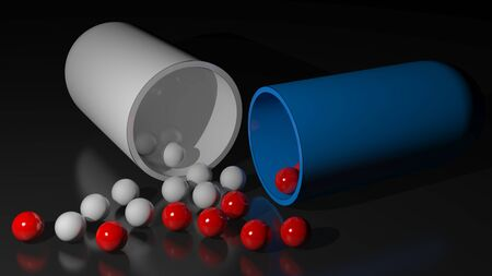 A capsule of drug Had Been opened on a white surface and little white spheres Which were contained in it came out on the surface Stock Photo