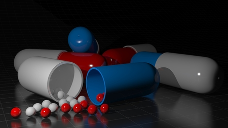 previously: Some capsules of drugs are on a black glossy surface; One of them Had Been opened and little white and red spheres previously contained in it came out on the surface - 3D rendering