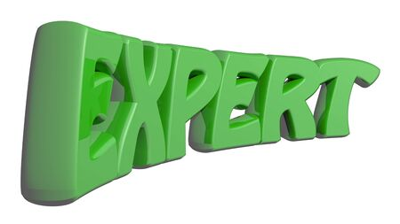 EXPERT written with green 3D letters - 3D rendering