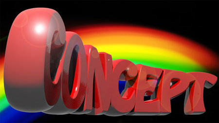 CONCEPT written with red 3D letters on rainbow