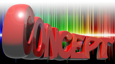 CONCEPT written with red 3D letters on colorful background