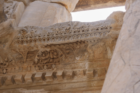 archeological: Detail of the Library of Celsus - Ephesus - Turkey Stock Photo