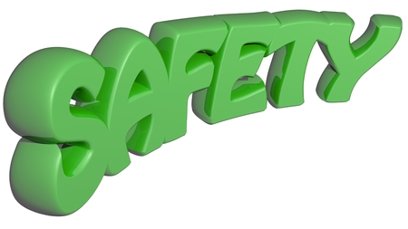 SAFETY 3D green letters - 3D rendering