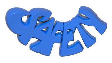 SAFETY 3D blue letters - 3D rendering
