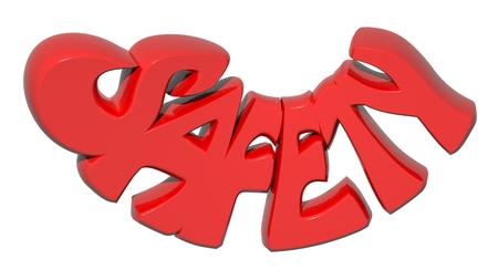 SAFETY 3D red letters - 3D rendering Reklamní fotografie