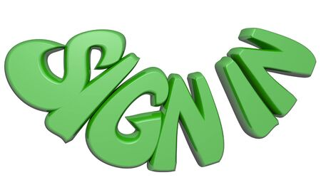 signing: SIGN IN written with green 3D letters on white background - 3D render