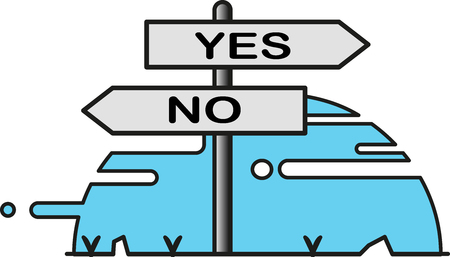 Street sign with opposite directions indications for yes and no