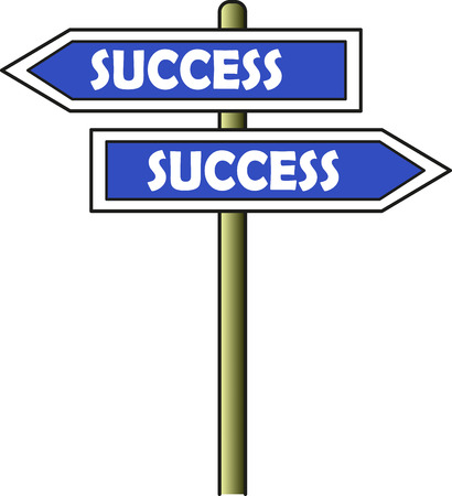 A street sign with two opposite arrows. Both of them show the way for the success.