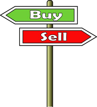A street sign indicating two opposite directions: left for sale and right for sell. Sign plate for buy has a green background; Sign plate for sale has red background