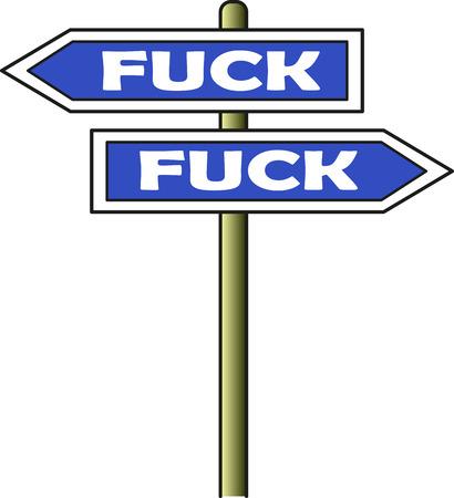 Fuck - Fuck street sign blue Illustration