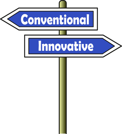 A street sign indicates two opposite ways: left for conventional and right for innovative