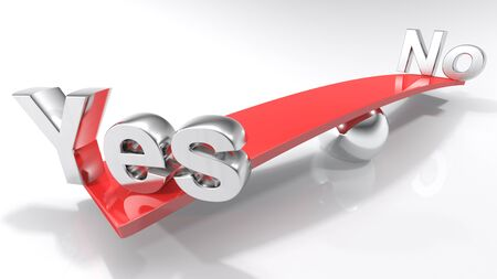 Yes and No at the opposite sides of a balanced bar - 3D rendering Stock Photo