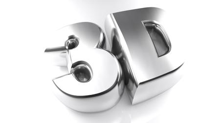 xyz: 3D in chromed letters - 3D rendering Stock Photo