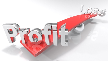 The words Profit and Loss are standing on a red bar that is laying balanced on a chromed sphere. Background is white