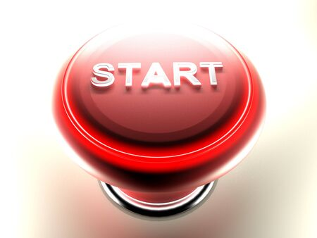 Red pushbutton to START - 3D rendering Stock Photo