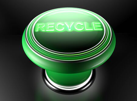 The green pushbutton has a lighted green write RECYCLE on its top. 3D rendering Stock Photo