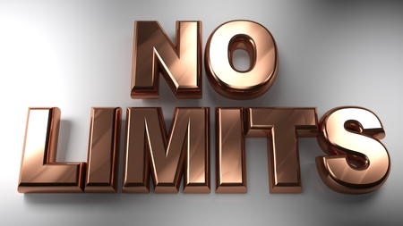 The write NO LIMITS written with copper 3D letters on a white surface - 3D rendering