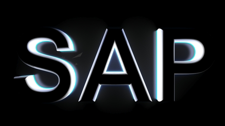 A blue backlight comes in the SAP script written with white 3D letters, on a black surface - 3D rendering