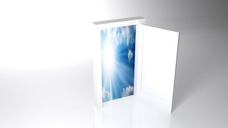 A white door is standing over a completely white surface. Nothing but this door is there. The door is open and there is a beautiful sunny sky - 3D rendering