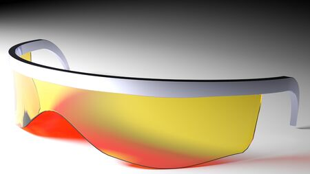 A concept for sun glasses with modern futuristic design: the structure is in chromed plastic while the lens is built in only one piece that surrounds the eyes and all the front part of the head. Lenses have a yellow and red- orange reflections color Stock Photo