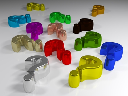 A series of multicolored metallic question marks are laying on a white surface - 3D rendering
