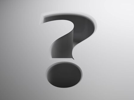 The white surface has a hole with the shape of a question mark - 3D rendering