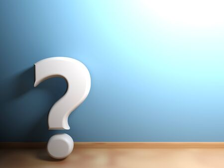 The white big question mark is still standing on a blue wall in a room that has white pavement - 3D rendering Stock Photo
