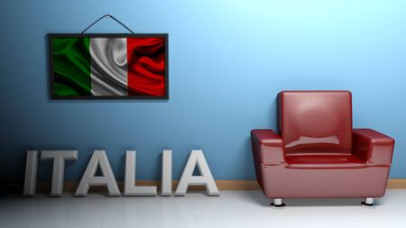 In a room there is a red glossy armchair. At the blue wall a picture of the Italian flag is hanging and at the pavement there is a white three dimensional write ITALIA - 3D rendering