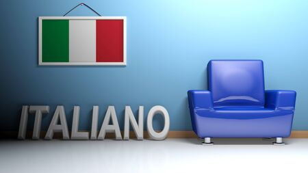 In a room there is a blue armchair and a picture of the Italian flag is hanging on the blue wall. On the pavement, leaning on the wall there is a white three dimensional write ITALIANO. 3D rendering Stock Photo