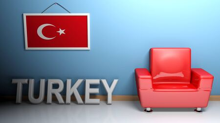 In a room there is a red glossy armchair. At the wall is the picture of the Turkish flag and on the pavement there is a white three-dimensional white write TURKEY - 3D rendering Stock Photo