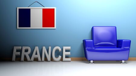 In a room there is a blue glossy armchair. Hanging on the blue wall there is a picture of the French flag and on the pavement, leaning on the wall, there is a white three dimensional write FRANCE - 3D rendering Stock Photo