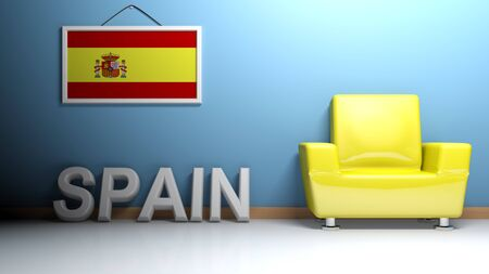 In a room there is a yellow glossy armchair. At the wall is hanging the picture of the spanish flag and on the pavement there is a white three-dimensional white write SPAIN - 3D rendering Stock Photo
