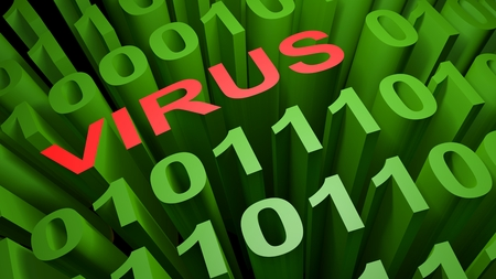 VIRUS is written in red letters among the green zeros and those of the binary code of the low level computer language - 3D rendering