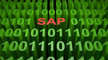 SAP is written with red letters inside a screen full of green zeros and those representing the binary code of the low level computer language - 3D rendering Фото со стока