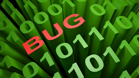 BUG is written with red letters among many zeros and those written in the green characters of the computer screen, representing the binary code of the low level computer language - 3D rendering