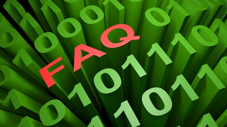 FAQ is written with red letters among many zeros and those written in the green characters of the computer screen, representing the binary code of the low level computer language - 3D rendering