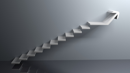 Trappen gaan van de vloer naar boven en de laatste stap is een grote pijl naar rechts, oneindig - 3D rendering Stockfoto