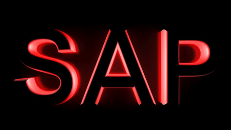 erp: SAP in red backlight - 3D rendering
