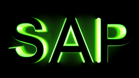 SAP in green backlight - 3D rendering