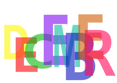 The write DECEMBER with colorful semi-transparent letters, on white background