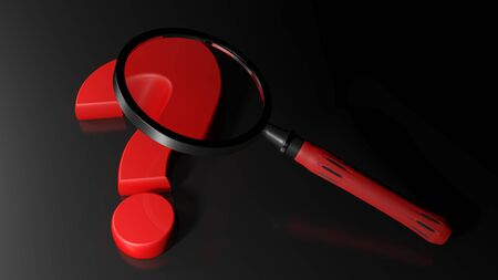 asked: The magnifier is over a red question mark that is laying on a black surface - 3D rendering